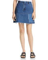 Ksenia Schnaider - Patchwork Denim Mini Skirt In Blue - Lyst