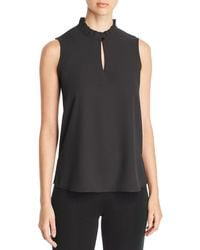 Misook Ruffled Keyhole Tank Top - Black