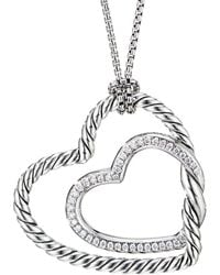 David Yurman Continuance Diamond Heart Pendant Necklace - Metallic