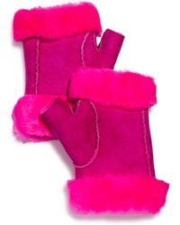 Maison Fabre Shearling Fingerless Gloves - Pink