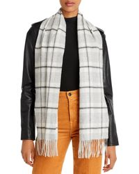 C By Bloomingdale's Check Cashmere Scarf - Metallic