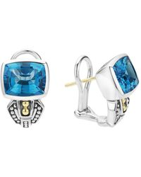 Lagos 18k Gold And Sterling Silver Caviar Colour Stud Huggie Drop Earrings With Swiss Blue Topaz