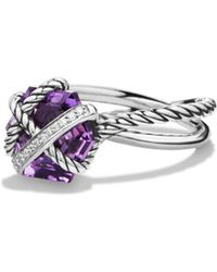David Yurman - Petite Cable Wrap Ring With Amethyst And Diamonds - Lyst