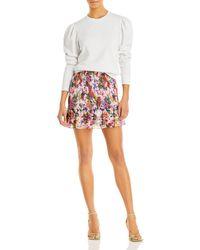 Aqua X Mary Katrantzou Floral Smocked Mini Skirt - Pink