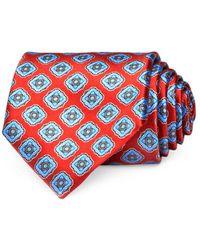 Ermenegildo Zegna Diamond Medallion Silk Classic Tie - Red