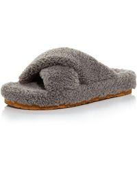 Aqua Women's Fluff Faux Shearling Slide Slippers - Gray