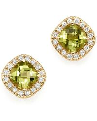 Bloomingdale's - Peridot Cushion Cut And Diamond Stud Earrings In 14k Yellow Gold - Lyst