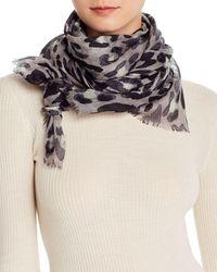 Bloomingdale's Leopard Print Wool Scarf - Grey