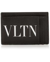 Valentino Garavani Valentino Logo Print Small Leather Card Case - Black