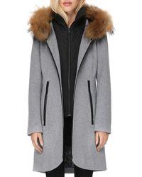 SOIA & KYO - Fur Trim Coat - Lyst