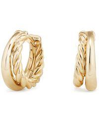 """David Yurman - Pure Form Hoop Earrings In 18k Gold/1"""" - Lyst"""