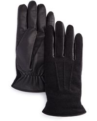 Bloomingdale's Wool - And - Leather Tech Gloves - Black