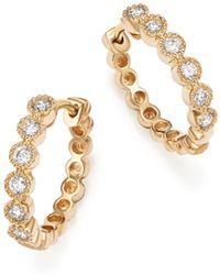 Bloomingdale's - Diamond Milgrain Bezel Hoop Earrings In 14k Yellow Gold, .25 Ct. T.w. - Lyst