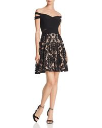 Aqua - Off-the-shoulder Damask Dress - Lyst