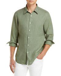 Theory Irving Linen Button Down Shirt - Green
