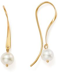 Bloomingdale's - Cultured Freshwater Pearl Threader Earrings In 14k Yellow Gold - Lyst