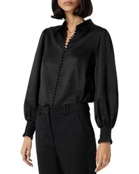 The Kooples Smocked Cuff Blouse - Black