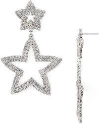 Aqua Open Star Drop Earrings - Metallic