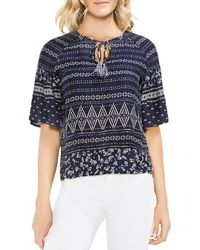 Vince Camuto - Printed Tie-neck Flutter-sleeve Top - Lyst