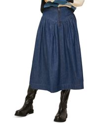 Whistles Denim Pleated Midi Skirt - Blue