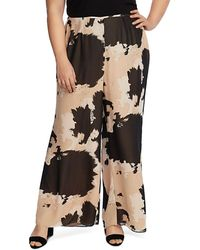 Vince Camuto Signature Abstract Cowhide Print Wide - Leg Trousers - Black