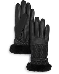 UGG - Quilted Shearling - Cuff Leather Tech Gloves - Lyst