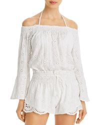 Surf Gypsy Off - The - Shoulder Eyelet Romper Swim Cover - Up - White
