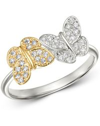 KC Designs - 14k White And Yellow Gold Diamond Double Butterfly Ring - Lyst