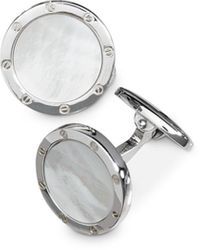 Jan Leslie Sterling Silver And Mother Of Pearl Round Cufflinks - Metallic