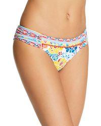 Lucky Brand Las Dalias Shirred Bikini Bottom - Blue