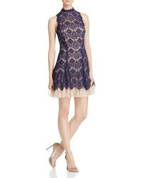 Aqua - Lace Mockneck Dress - Lyst