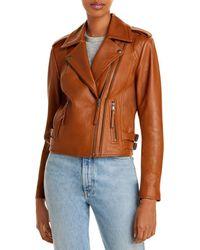 Joie Leolani Leather Moto Jacket - Orange