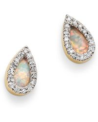Adina Reyter - 14k Yellow Gold Opal & Diamond Teardrop Stud Earrings - Lyst
