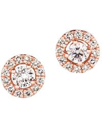 Bloomingdale's - Champagne Diamond Halo Stud Earrings In 14k Rose Gold - Lyst