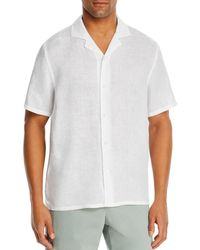 Bloomingdale's Linen Solid Classic Fit Camp Shirt - White