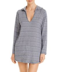 Splendid Able Staple Hoodie Tunic Swim Cover - Up - Blue
