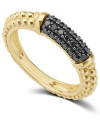 Lagos - Gold & Black Caviar Black Diamond Pavé Stacking Ring - Lyst