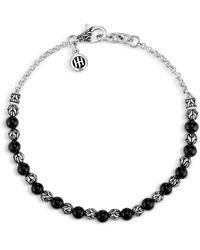 John Hardy - Classic Chain Silver 2mm Mini Rolo Chain Bracelet With Black Onyx - Lyst