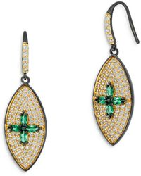 Freida Rothman Midnight Marquise Drop Earrings - Metallic