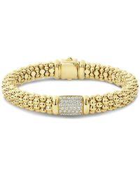 Lagos - 18k Yellow Gold Caviar Gold Pavé Diamond Bracelet - Lyst
