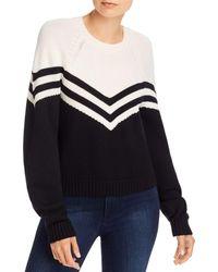 MILLY Varsity Chevron Wool Sweater - Black