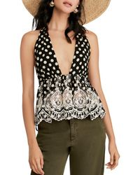 Free People - Lunch Date Polka Dot Halter Top - Lyst