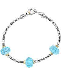 Lagos - 18k Gold & Sterling Silver Caviar Forever Sky Blue Topaz Melon Bead Station Rope Bracelet - Lyst