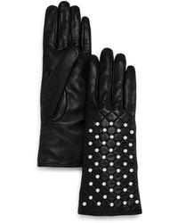 Bloomingdale's Beaded Leather Gloves - Black