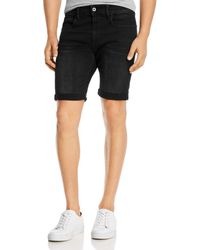 G-Star RAW G - Star Raw 3301 Denim Slim Fit Shorts In Worn In Meteor - Black