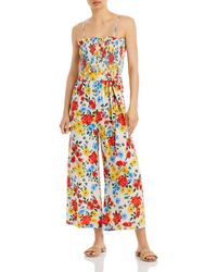 Lost + Wander Centre Of Attention Smocked Wide Leg Jumpsuit - Multicolour
