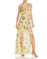Eliza J Printed Popover Maxi Dress - Yellow