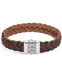 John Hardy Men's Classic Chain Braided Leather Bracelet W/ Silver Clasp - Brown