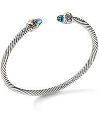 David Yurman - Renaissance Bracelet With Blue Topaz & 18k Yellow Gold - Lyst