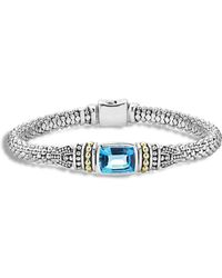 Lagos 18k Gold And Sterling Silver Caviar Colour Bracelet With Swiss Blue Topaz